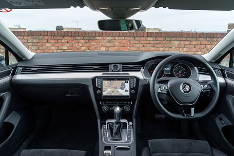 Inside the VW Passat Estate's cabin. Shades of Audi, anyone?
