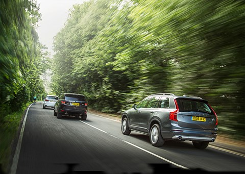 Volvo XC90 vs Range Rover Sport vs BMW X5, photographed by Charlie Magee for CAR magazine