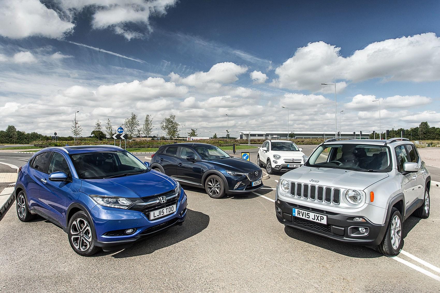 Caution! Hatchbacks crossing: Honda HR-V vs Mazda CX-3 vs Jeep Renegade vs Fiat 500X, CAR+ ...