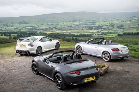 The MX-5 wins our group test, with the Toyota GT86 taking second, and the Audi TTS finishing last