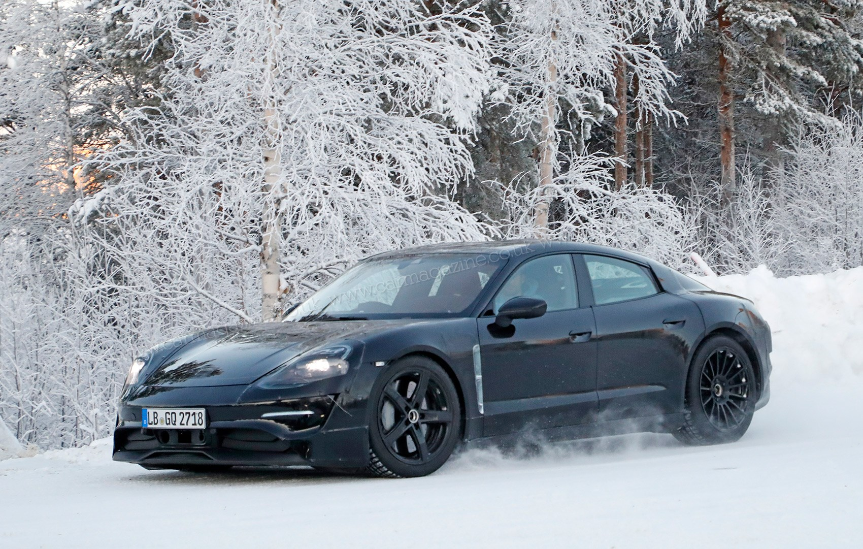 Huge Brake Discs Visible In This Spy Photo Of The 2019 Porsche Mission E Electric Car Winter Testing