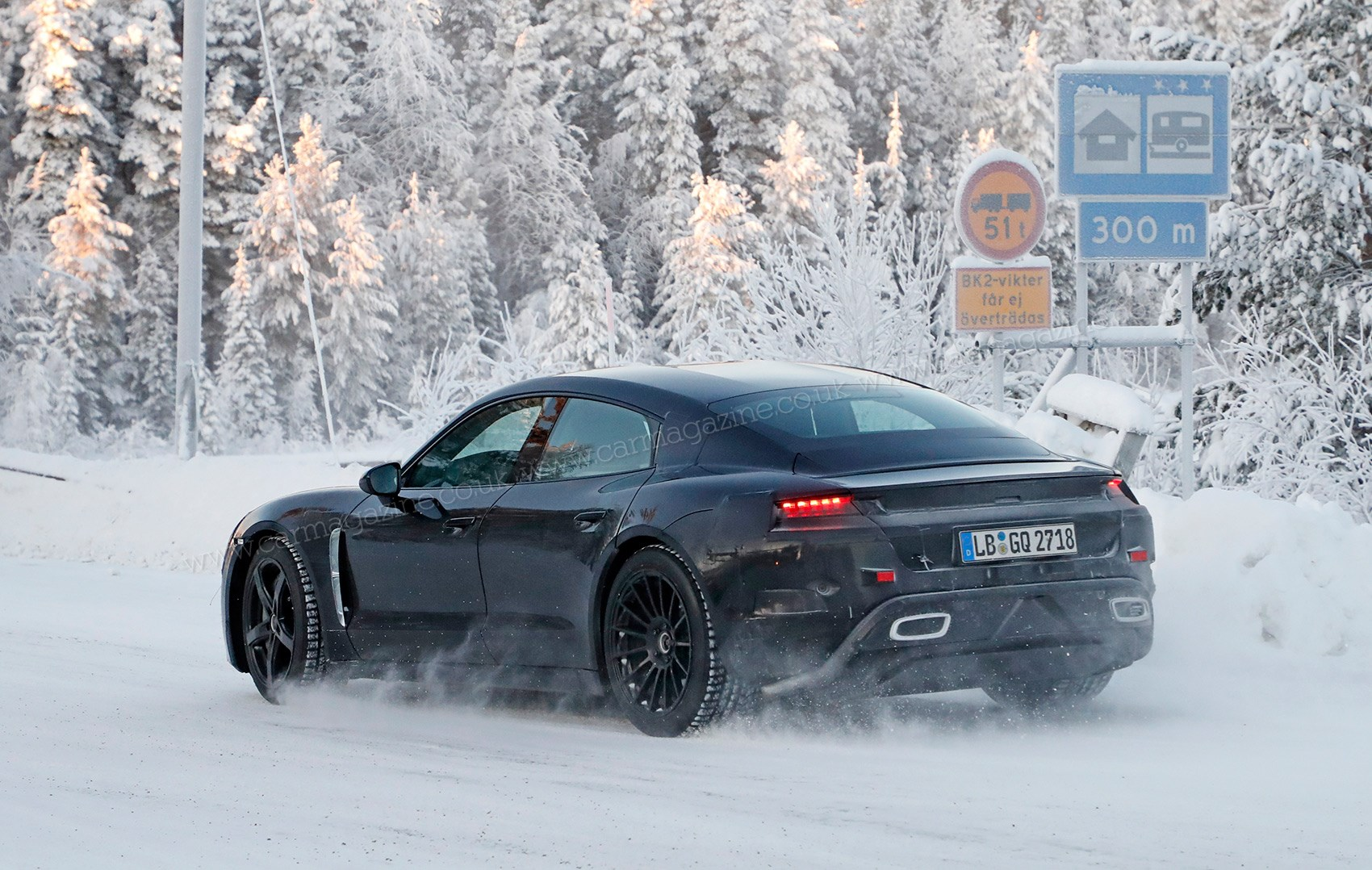 Cold Weather Testing Note The Dummy Exhaust Pipes On Mission E Electric Car Too