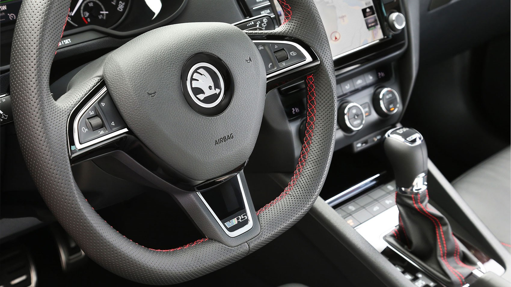 Skoda octavia vrs 230 2015 review car magazine red stitching and flat bottomed wheel its like the 1980s all over again publicscrutiny Choice Image