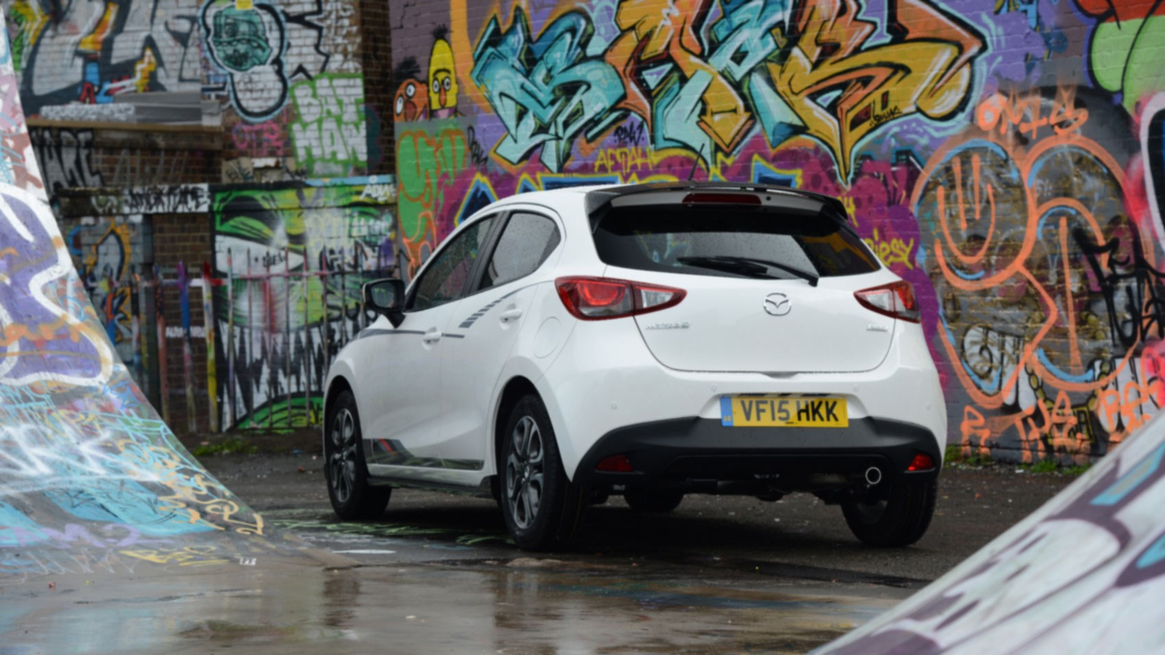 White black graphics an option on the mazda 2 sport black