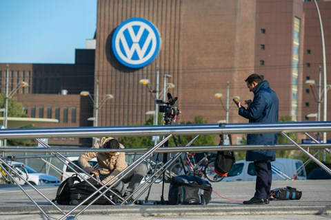 Reporters gather at VW HQ in Wolfsburg (Getty)