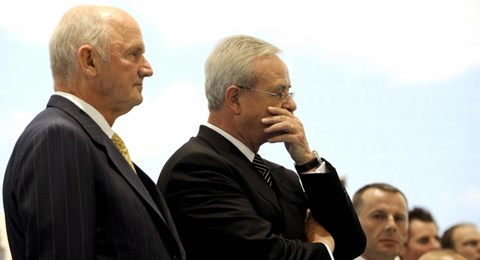 The old guard: Ferdinand Piech (left) and Martin Winterkorn, who quit as CEO this week
