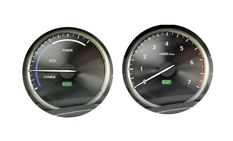 Beardy Eco clock (left) gives way to red-blooded rev counter when you hit Sport