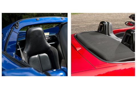 Elise rattles less with the roof off; MX-5 is equally noisy with roof up or down (but manual roof is sooo easy to operate)