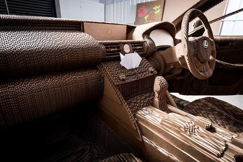 Inside the cardboard Lexus