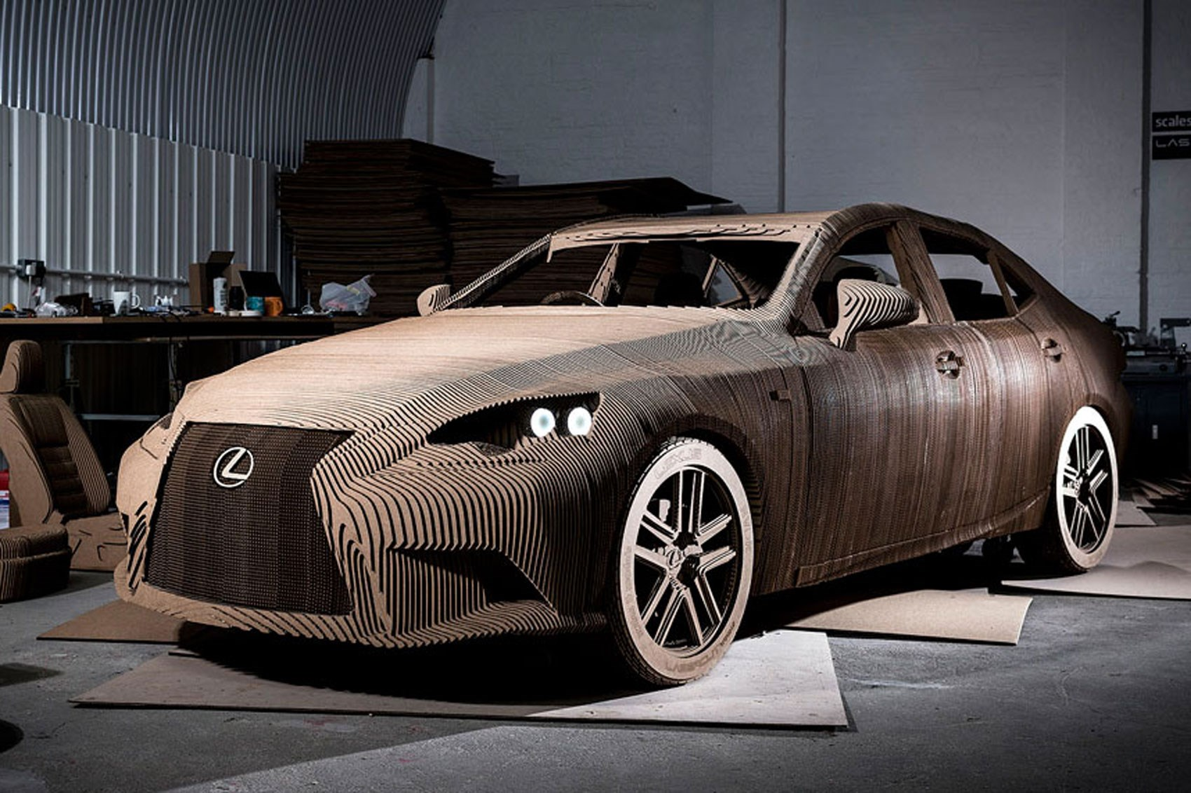 the origami inspired lexus the is that s made out of cardboard and actually drives by car. Black Bedroom Furniture Sets. Home Design Ideas