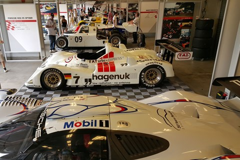 Car no.7 is the Porsche WSC-95, the last privateer-entered car to win Le Mans, in 1997 - and the first win of many for Tom Kristensen