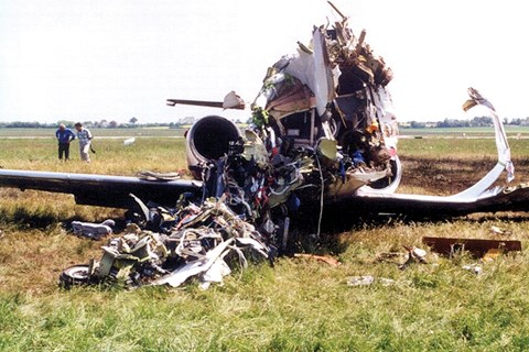Sobering viewing:the remains of David Coulthard's light aircraft. Four days after stepping from the wreckage, he finished second at the Spanish GP