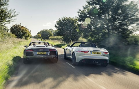 Jag looks bigger on the road, and is indeed longer and taller, but R8 is a full 106mm wider. Proper supercar hips!
