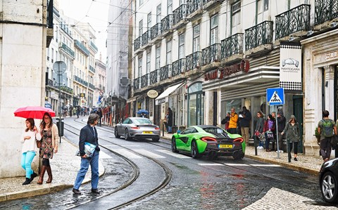 Ancient Lisbon greeted 570S as if Marty McFly was driving it. 911 hardly registered