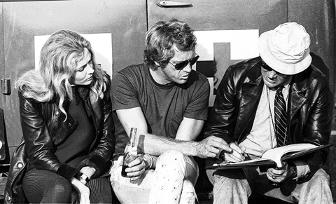 McQueen with co-star Elga Andersen and director Lee Katzin, discussing the script… once it finally turned up