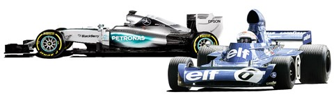 Stewart's Tyrrell-Ford (right). Trickier than Hamilton's Merc?