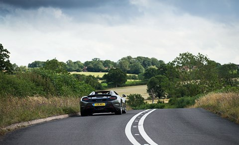 Our McLaren 650S Spider on the open road: bliss!