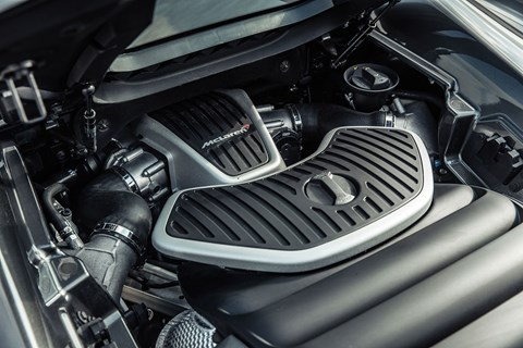 The engine bay: bi-turbo V8 provides fireworks