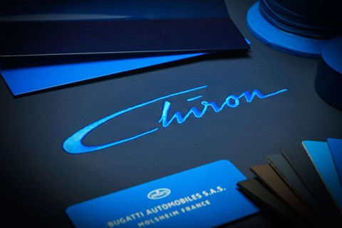Louis Chiron's signature (or a stylised version of it) appears inside the new car