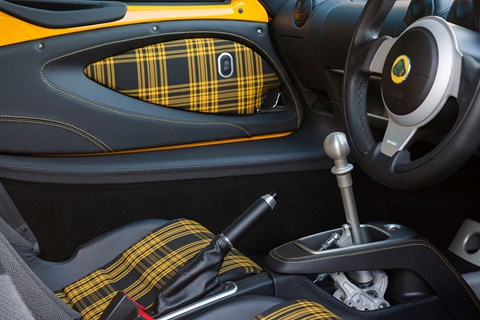 Lovely tartan and exposed gear linkage of Lotus Exige Sport 350