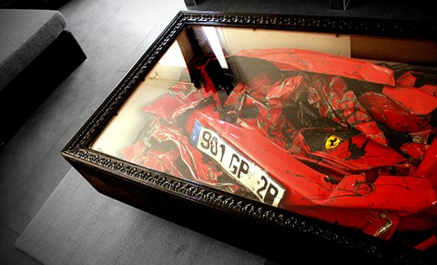Crushed Ferrari coffe table by Charly Molinelli