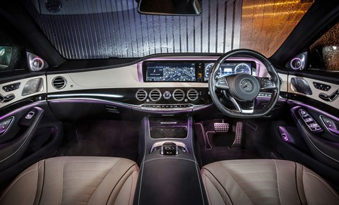Outrageously luxurious, the S-class takes the biscuit with an IMAX like infotainment system