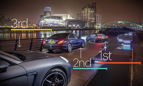 The 7-Series takes the podium step, with the Porsche bringing up the rear of the three
