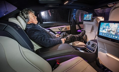 Live TV functionality and control of the front seats via remote allows you to lay back and relax