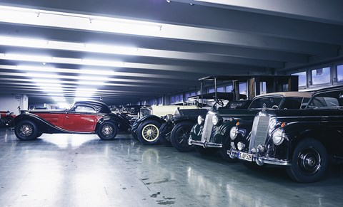 Beauty and the behemoths – aero-styled 1938 320 combination coupe with more substantial, four-square big-hitters from Merc's saloon car past