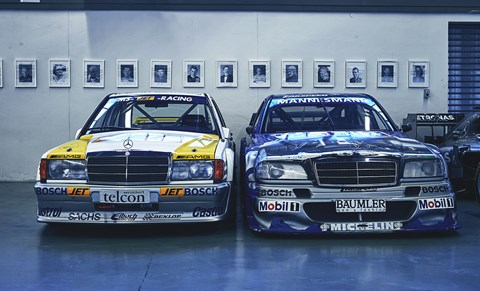 Stung by Alfa's shock DTM title win with the 155 in 1993, Merc struck back with a tech-laden C-class racer (right). In  came anti-lock brakes, a 500bhp V6 and a quick-release front end for rapid engine changes