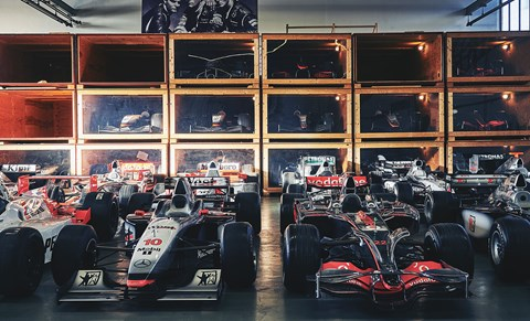 Bespoke storage crates are rotated and cleaned regularly, to prevent damage from moths and mice. Vodafone car is Lewis Hamilton's 2008 MP4-23, complete with Merc V8. Boy band is Merc's late-'80s sports car dream team: Fritz Kreutzpointner, Karl Wendlinger and Schumacher