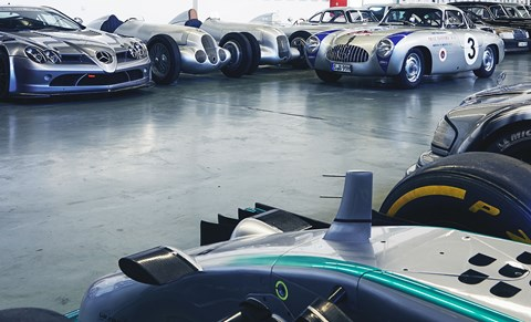 McLaren-Mercedes SLR 722 one-make racer and SLR prototype in Carrera Panamericana colours flank two of Merc's mightiest GP cars, a W125 and  W25, and – just visible – the sister car to Moss's 1955 Mille Miglia winning 300 SLR