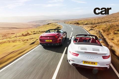 Ferrari California vs Porsche 911 Turbo S in Wales