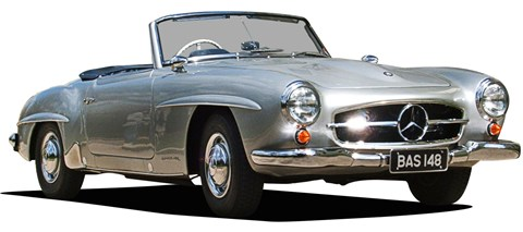 The 300 SL was downsized both in terms of engine and shape to create the 190 SL