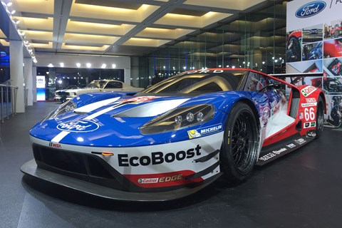 The Ford Performance PR machine gathers momentum. First customer GTs will be delivered late 2016, and the racer debuts at Daytona in a few weeks time, but Le Mans in June will be the V6 supercar's day(s) of reckoning.