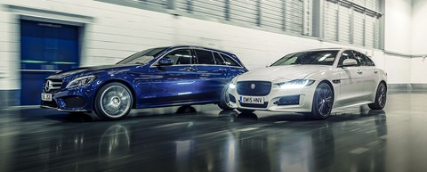 Mercedes C-class and Jaguar XE