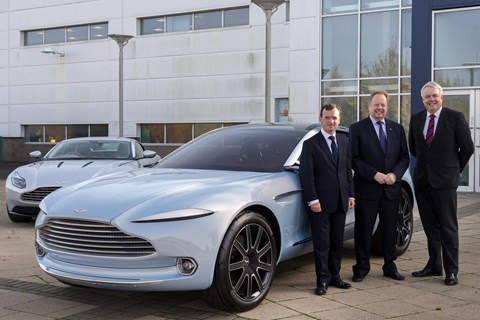 The Aston DBX, CEO Andy Palmer (middle) and local dignitaries