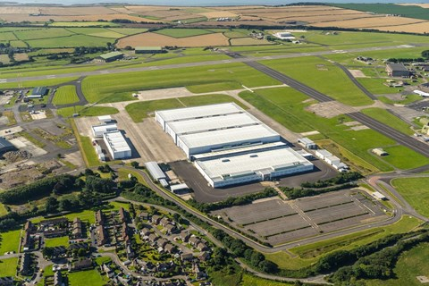 Aerial view of the new St Athan factory for Aston Maritn