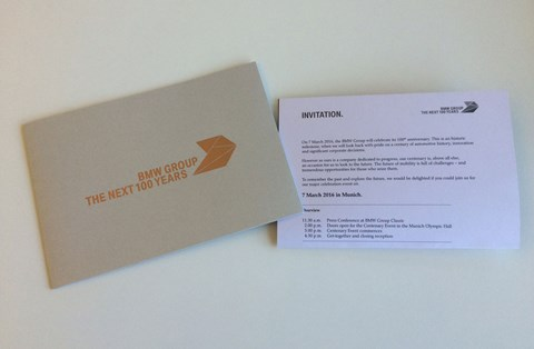 The invitation for BMW's centenary event