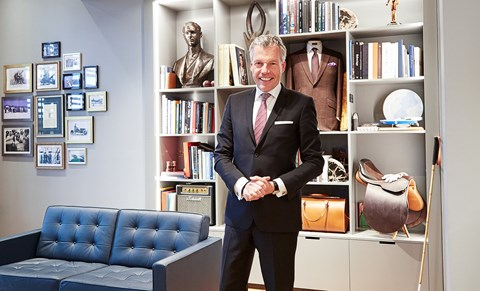 Current boss Müller-Ötvös in the factory's modern recreation of original boss Charles Rolls's study. It's part of the new customer suite