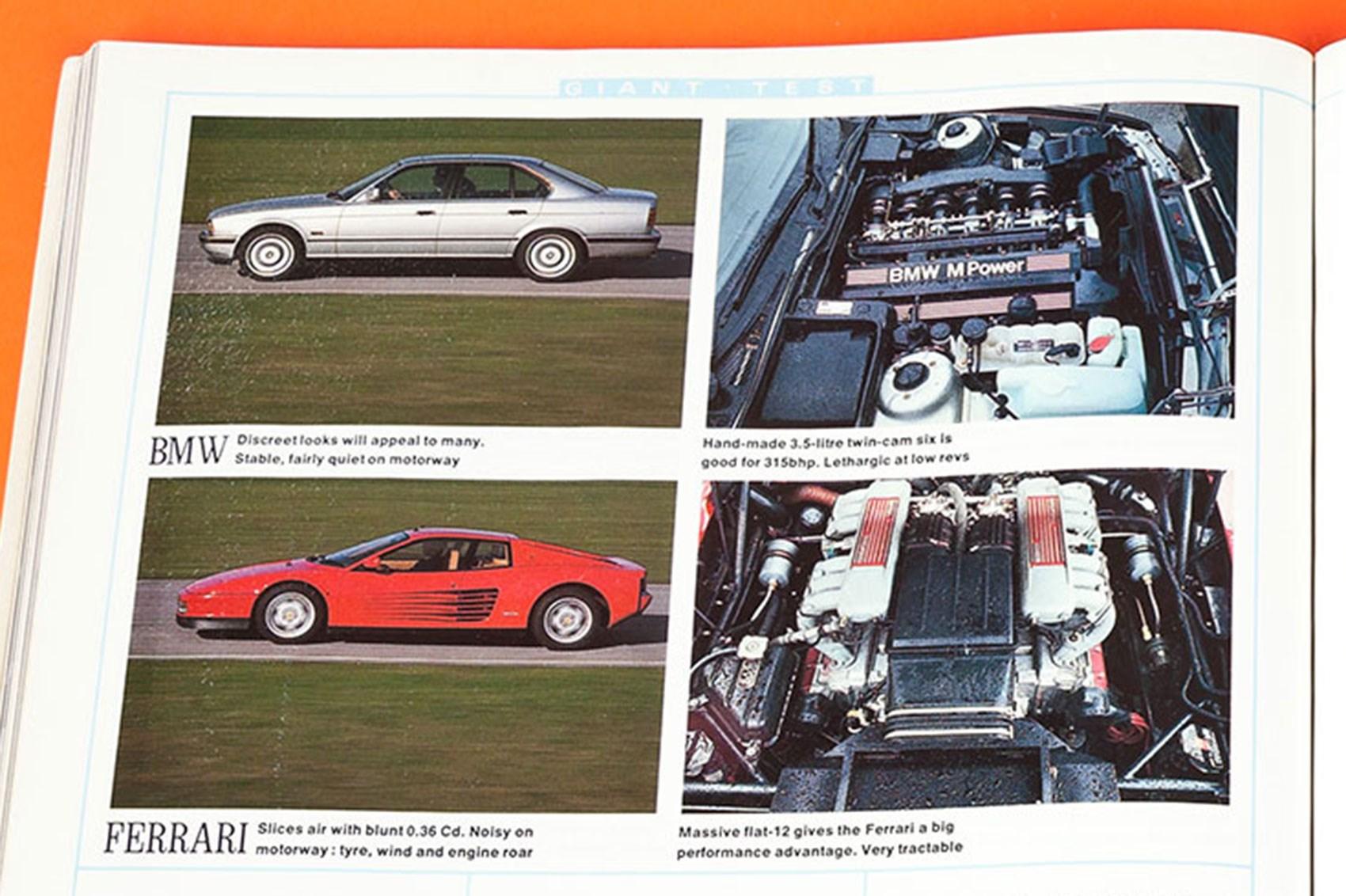 BMW M5 vs Ferrari Testarossa, CAR magazine, April 1990