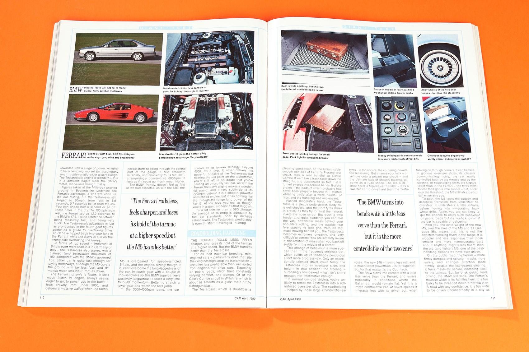 BMW E34 M5 vs Ferrari Testarossa CAR archive 1990 by CAR Magazine