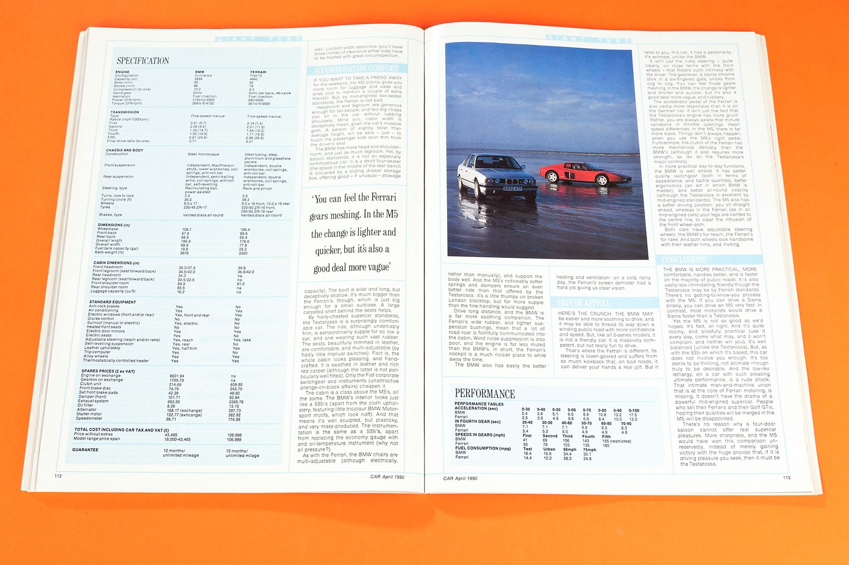 Bmw E34 M5 Vs Ferrari Testarossa Car Archive 1990 Magazine Bentley Continental Gt Fuse Diagram The Is Too Sterile To Be Thrilling Not Animate Enough Truly Desirable