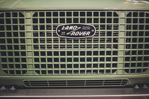 The iconic Land Rover Defender grille
