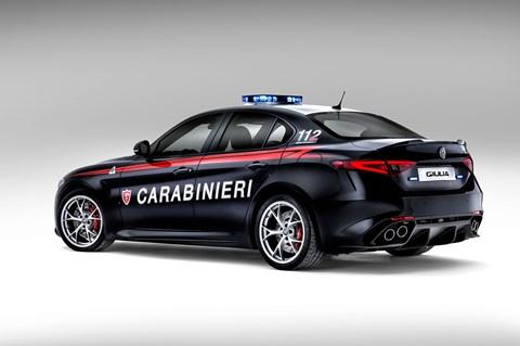 The new 2016 Alfa Romeo Giulia QV Italian police car