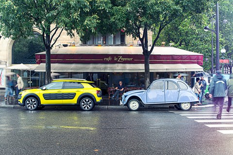 Citroen C4 Cactus vs Citroen 2CV. Photographed for CAR by Richard Pardon