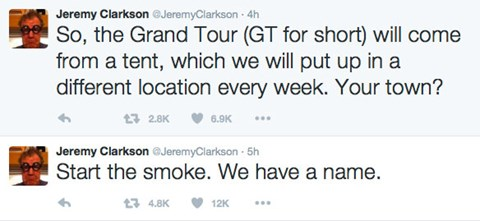 How Jeremy Clarkson announced the new name on Twitter