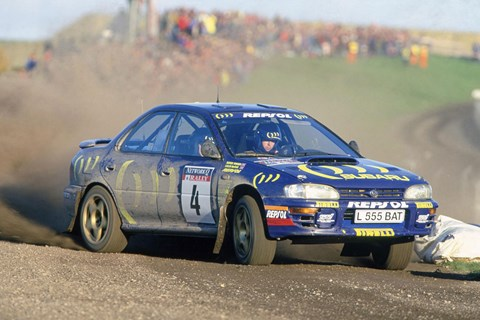 Colin McRae in his legendary Impreza rally car