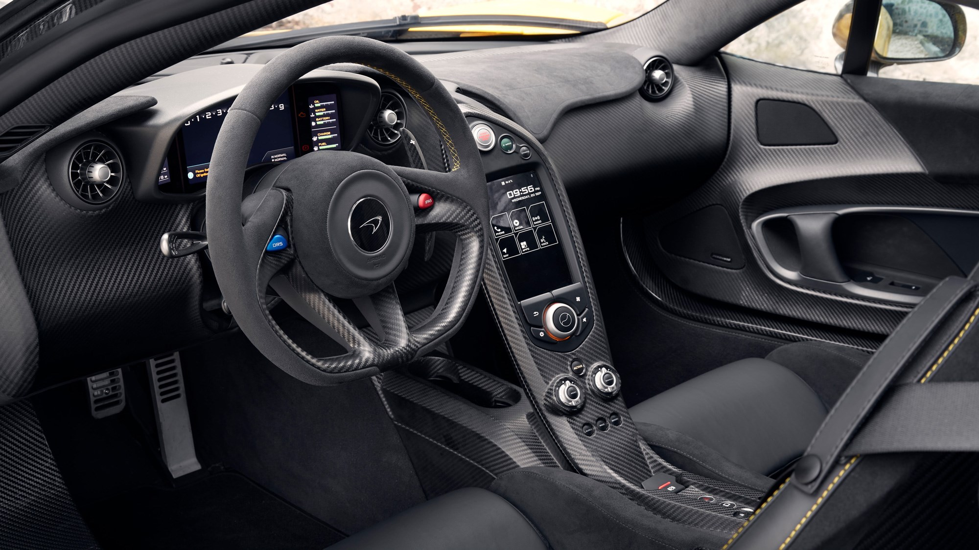 McLaren P1 review, Bahrain, interior, steering wheel, instruments
