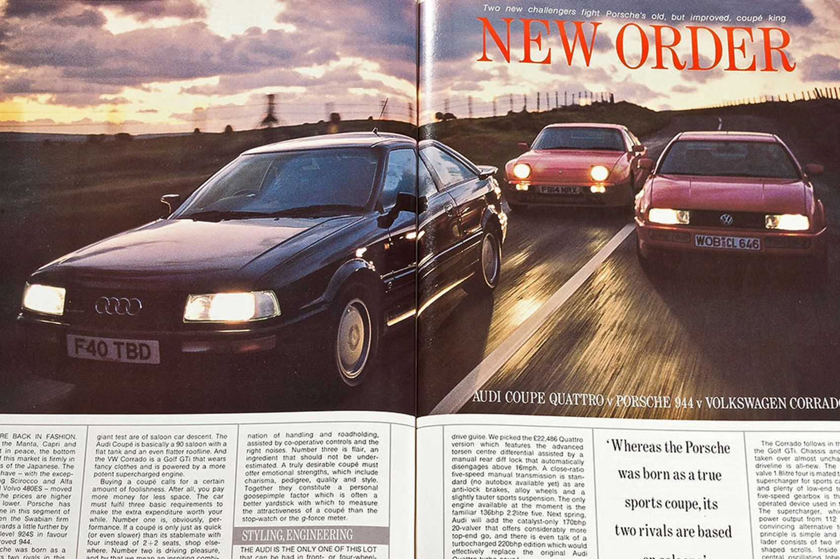New Order Audi Coupe Quattro Vs Porsche 944 Vs Vw Corrado G60 Car Archive 1989 Car Magazine